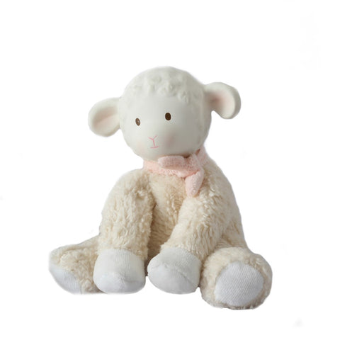 Lila Lamb With Rubber Teether Head & Pink Bow