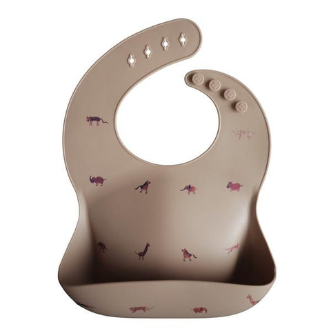 Silicone Baby Bib - Brown Safari