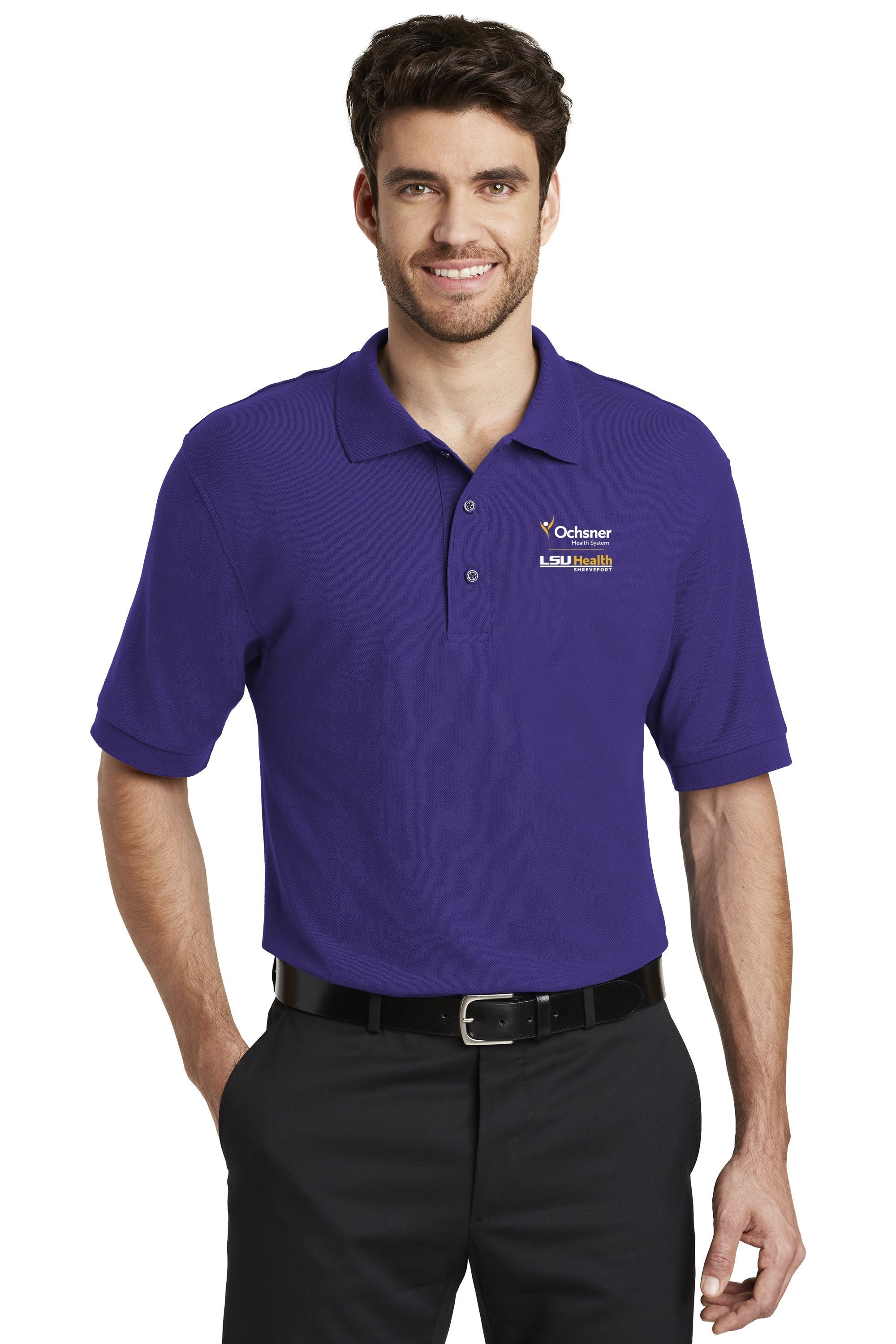 Short Sleeve Silk Touch Polo w/Ochsner LSU Shreveport logo