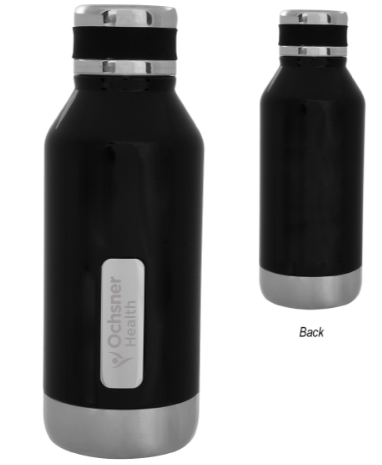 16oz Black Stainless Steel OH Water Bottle