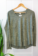 Load image into Gallery viewer, Soft Brushed Dolman Top  Our Soft Brushed Dolman Top features a round neck front with snap button detail on the cuffs, a dolman sleeve, and melange soft brushed fabric, it will be your go-to item on busy mornings. The perfect piece to wear with your favorite pair of jeans or leggings, this top can be worn alone or layered for an instant style boost.