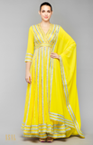 Load image into Gallery viewer, Yellow Anarkali Set