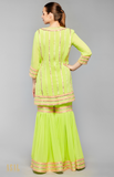 Load image into Gallery viewer, Lime Green Kurti-Gharara Set