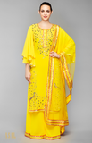 Load image into Gallery viewer, Yellow Circular Sleeves Kurta Set