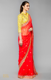 Load image into Gallery viewer, Coral and Yellow Saree Set