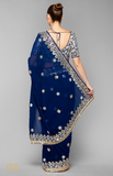 Load image into Gallery viewer, Navy Blue Saree Set
