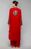 Load image into Gallery viewer, Red Asymmetric Kurta Set