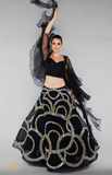 Load image into Gallery viewer, Black Lehenga Set