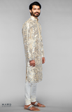 Load image into Gallery viewer, Beige Kurta Set With Metallic Mirror Embroidery