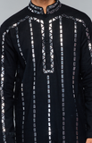 Load image into Gallery viewer, Black Kurta Set With Mirror Embroidery