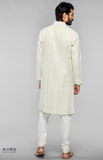 Load image into Gallery viewer, Off- White Kurta Set With Bakhiya Embroidery