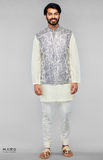 Load image into Gallery viewer, Dark Grey Heavy Embroidered Bundi