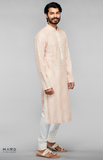 Load image into Gallery viewer, Off-White Kurta Set With Peach Resham Embroidery