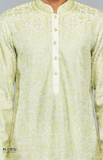 Load image into Gallery viewer, Off-White Kurta Set With Green Resham Embroidery