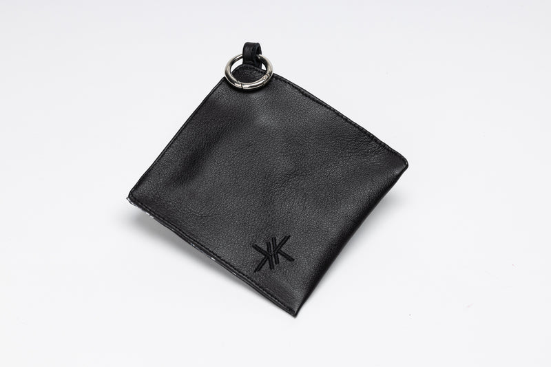 Face Mask Pouch in black Italian leather