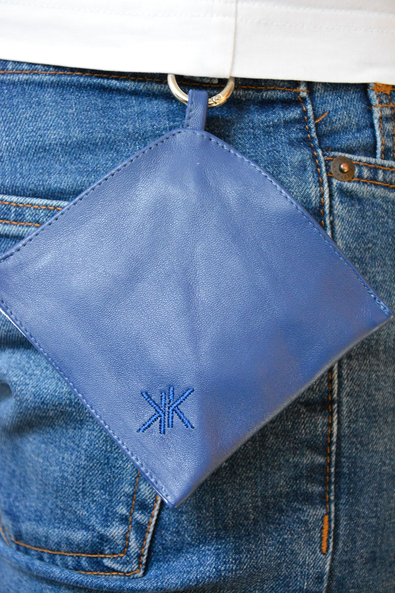 Face Mask Pouch in blue Italian leather