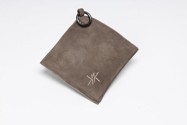 Face Mask Pouch in taupe Italian suede leather