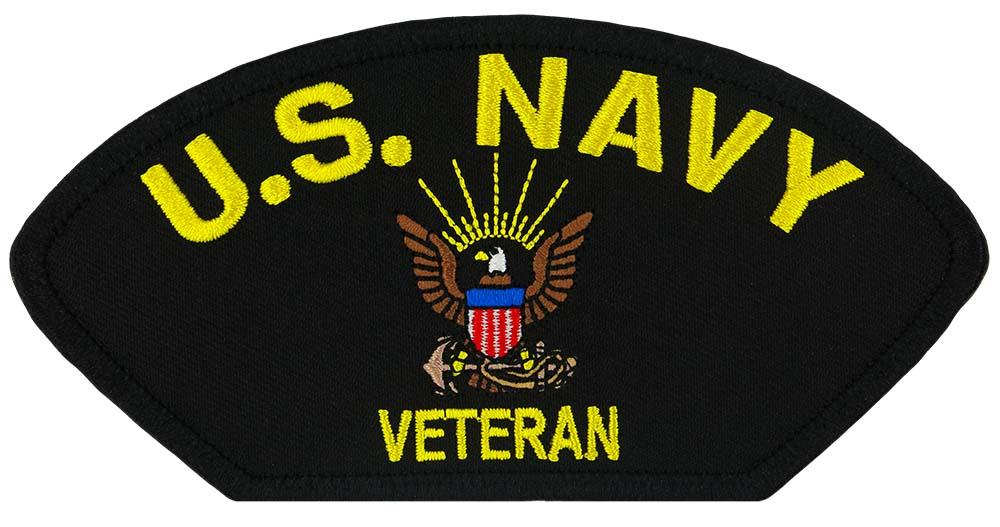 "US Navy Veteran Embroidered Patch 5 3/16"" x 2 5/8"""