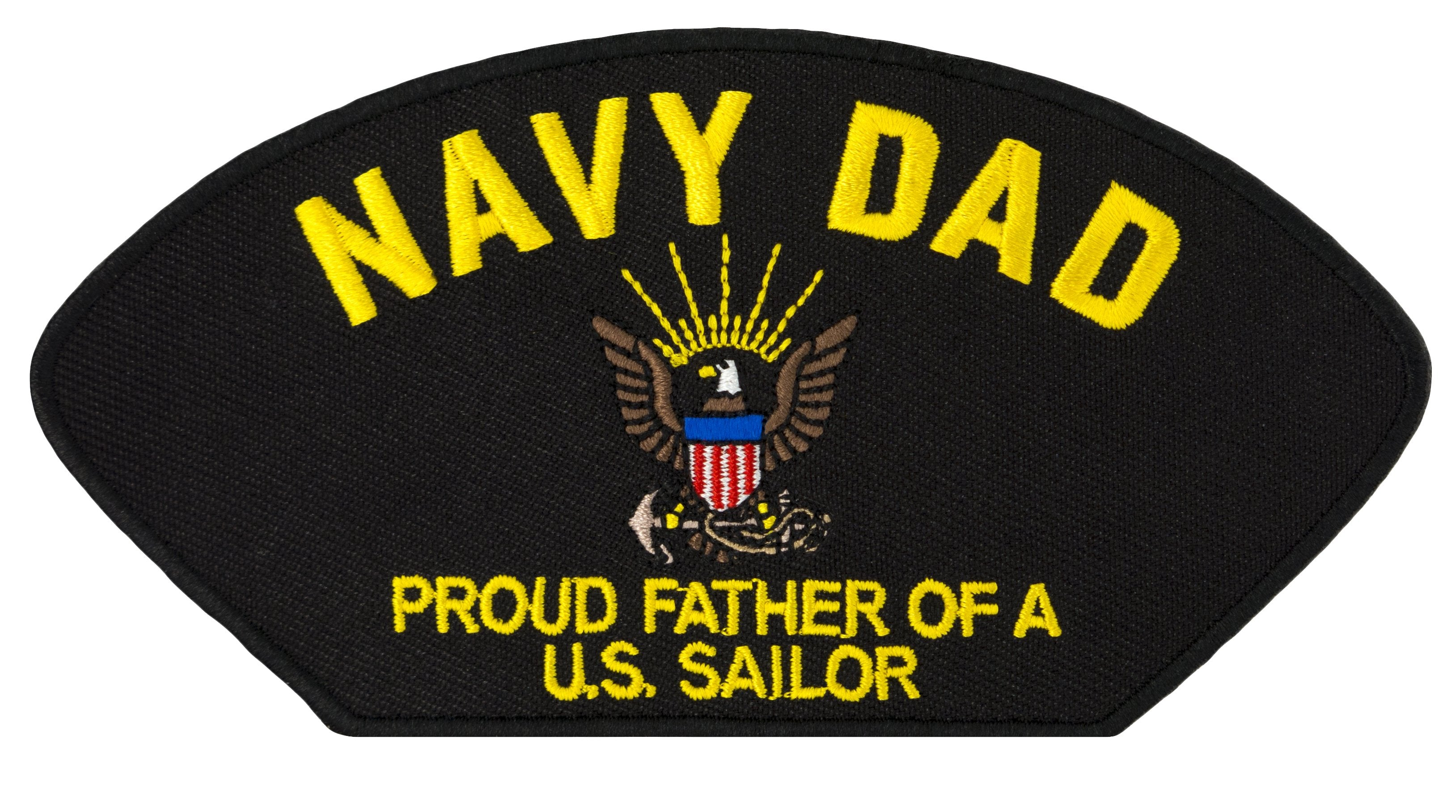 "US Navy Dad - Proud Father of a US Sailor Embroidered Patch 5 3/16"" x 2 5/8"""