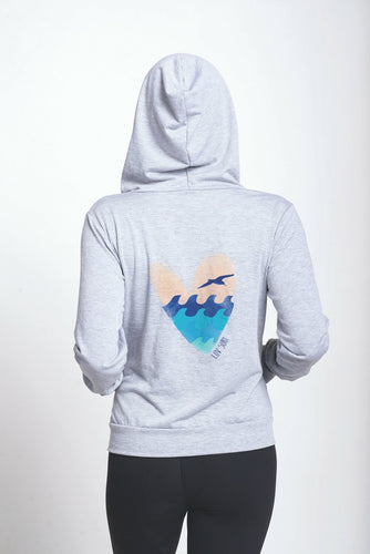 Luv Surf Sea Heart Zip Hoodie | Grey