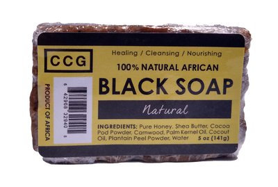 100% Natural African Black Soap 5oz (141g) Bar