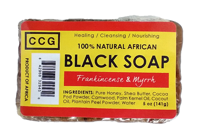 Auhtentic raw, unrefined african black soap made with all natural ingredients. Helps with acne, eczema, psoriasis. Beneficial to use on skin and hair.