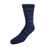 Pussyfoot Non Tight Striped Merino Wool Socks Mens Navy