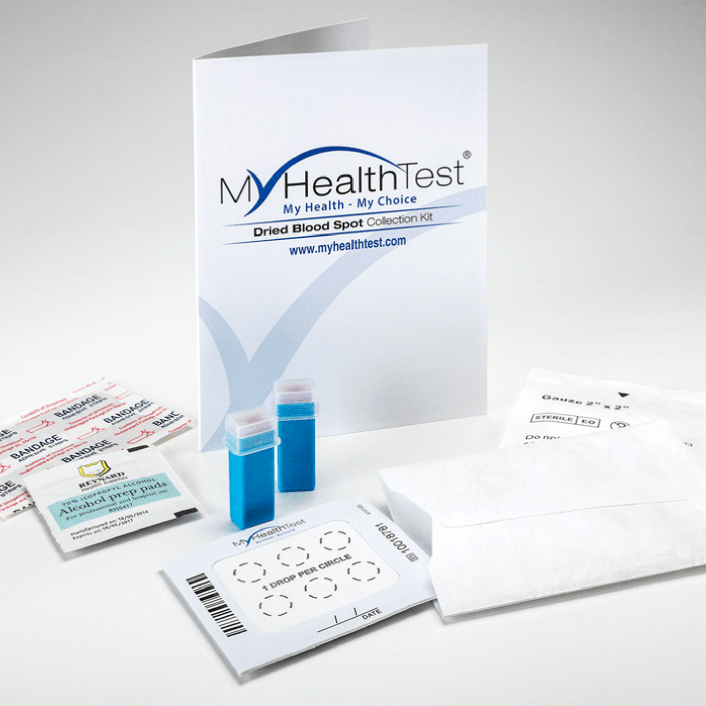 MyHealthTest HBA1C Test Service|Persons Hand Using MyHealthTest Kit|MyHealthTest Software On Laptop, Desktop & Mobile