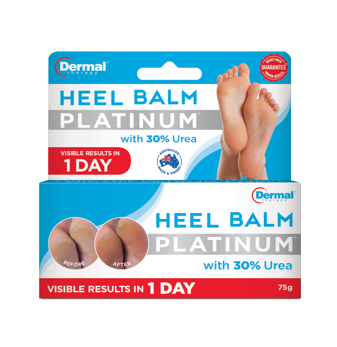 Front Of Dermal Therapy Heel Balm Platinum Box|Progress Shots Following Dermal Therapy Heel Balm Platinum Treatment|Box Of Dermal Therapy Heel Balm Platinum