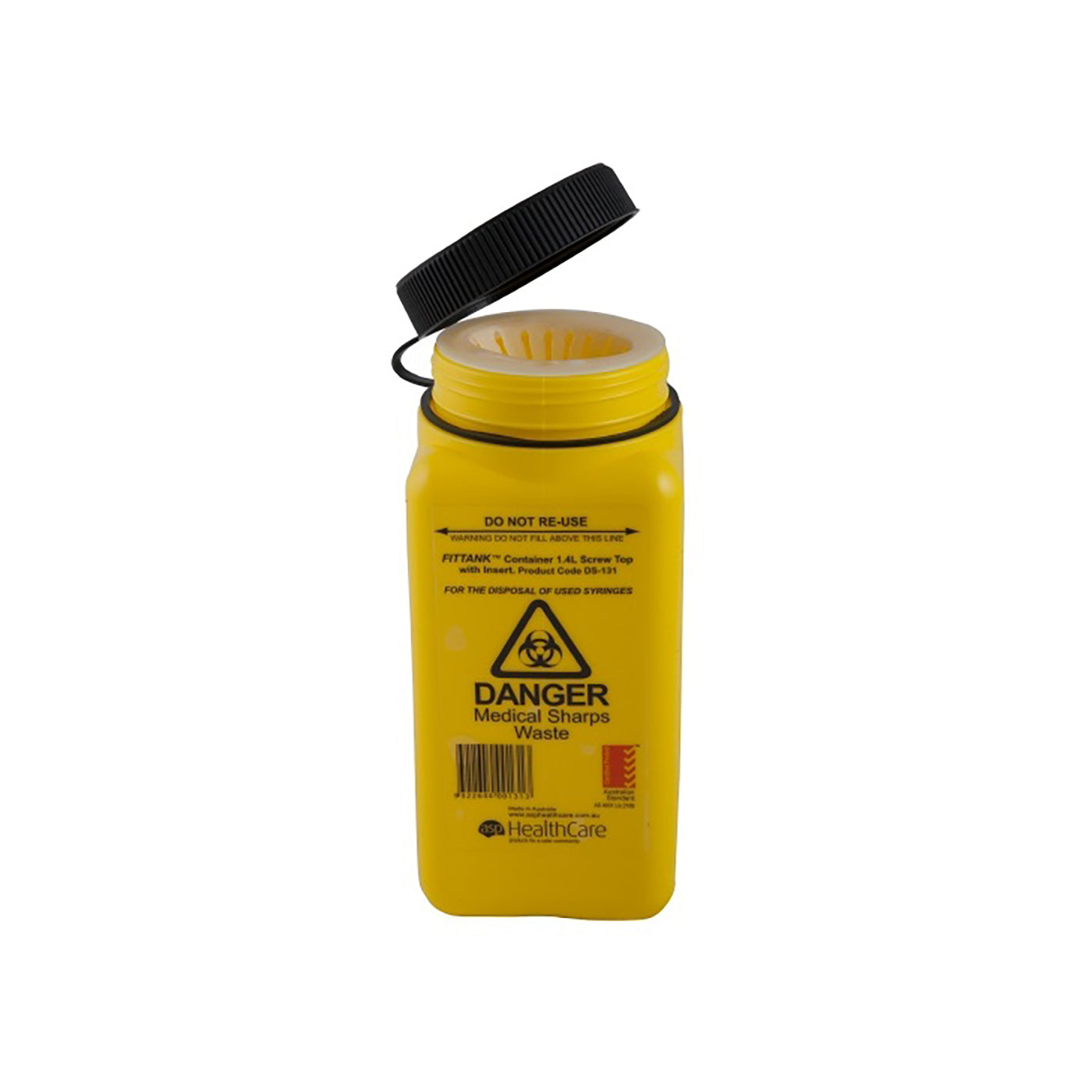 ASP Sharps Container Screw Top 1.4L