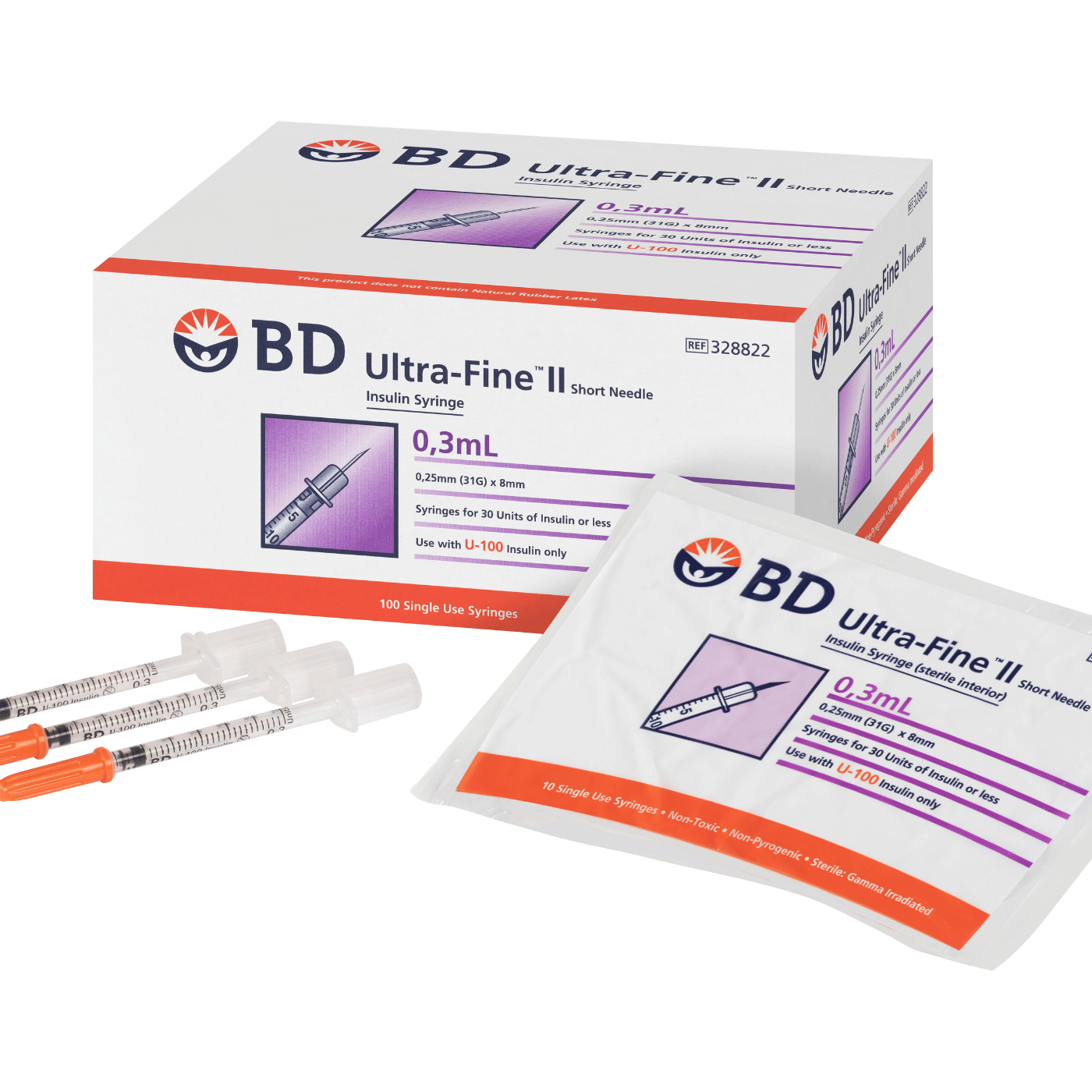 0.3mL_BD_Ultra-Fine_II_Short_Needle_Insulin_Syringe|A Pack Of 100 BD Ultra-Fine II Syringes And Needle