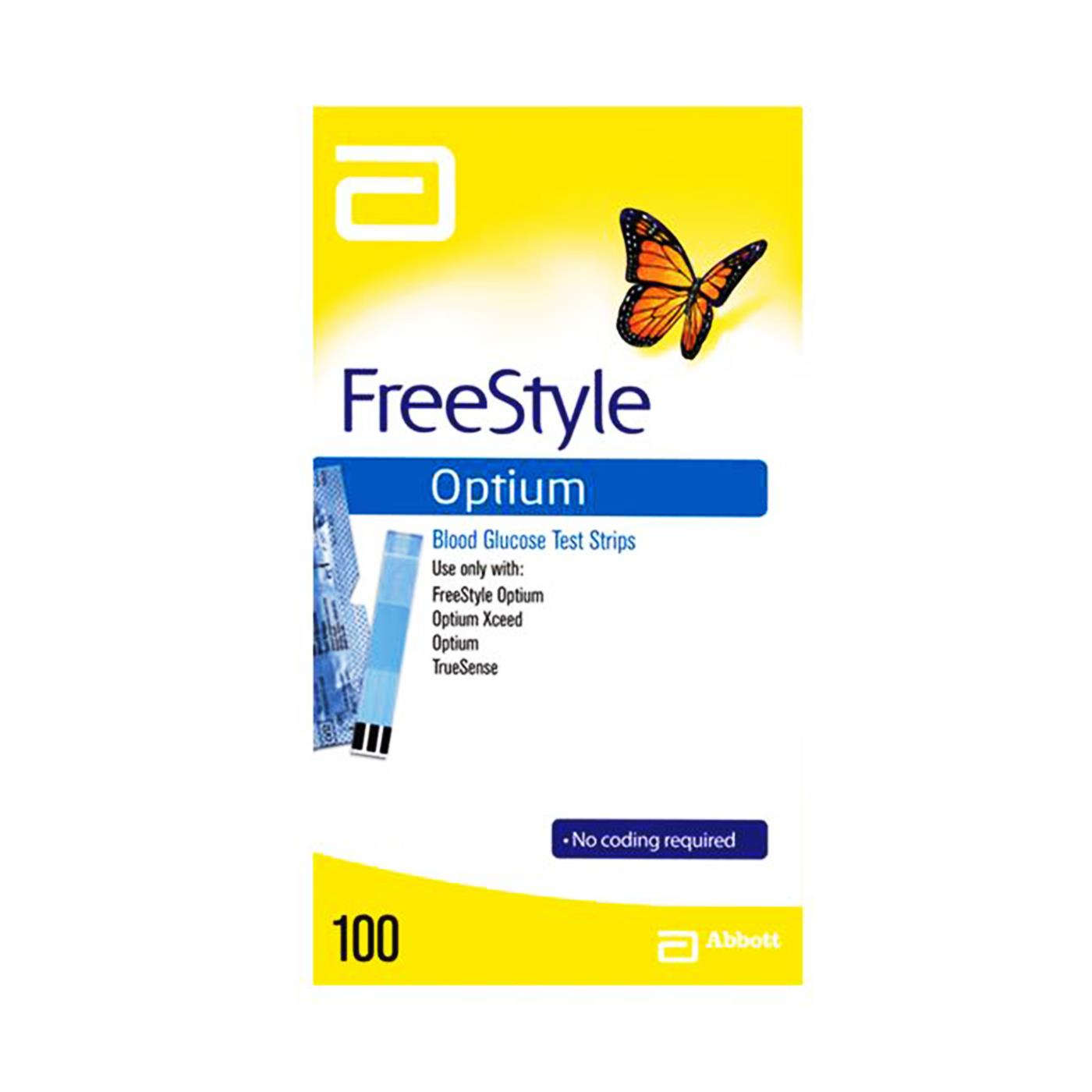 A 100PK Box Of Freestyle Optium Blood Glucose Test Strips