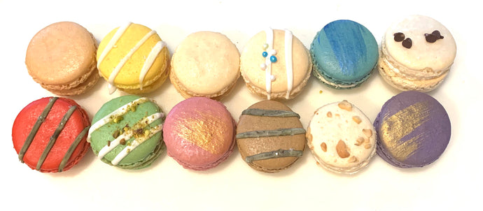 One Dozen (12) Assorted French Macarons Box