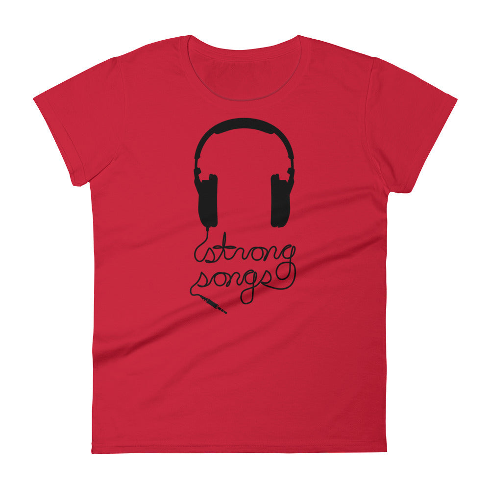 Red Fitted Headphones Tee