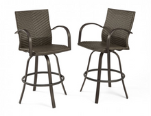 Load image into Gallery viewer, Leather Wicker Bar Stools