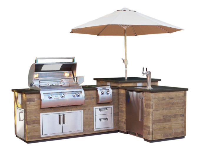 FireMagic Grills Reclaimed Wood L-Island with Refrigerator