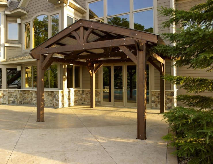 14' X 14' Mocha Lodge II Wood Pergola Kit