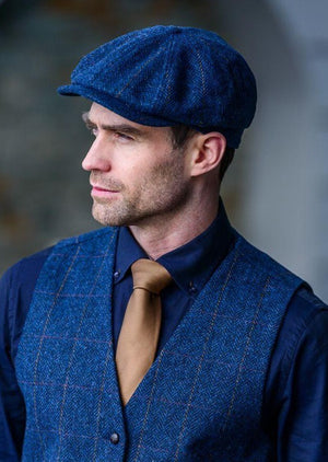 Mucros Blue 8 Piece Driving Cap