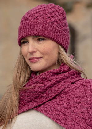 Aran Crafts Super Soft Magenta Heart Hat