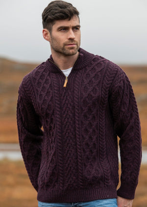 Aran Crafts Damson Zip Neck Jacket