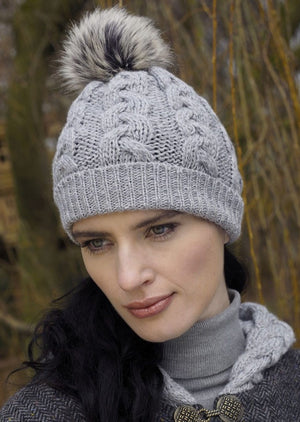 Aran Cable Knit Soft Gray Pom Pom Hat