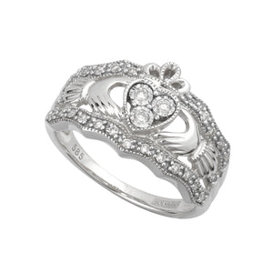 Solvar 14k White Gold Diamond Claddagh Band S21024