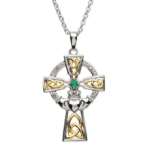 Silver Celtic Trinity Cross Set With Emerald And Diamond
