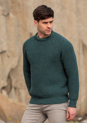 Green Fishermans Rib Crew Neck Sweater