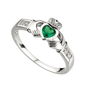Solvar Sterling Silver Claddagh Emerald Ring