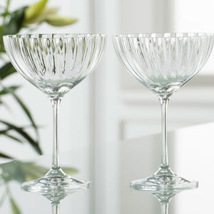 Galway Crystal Erne Champagne Saucers Glasses Set of 4
