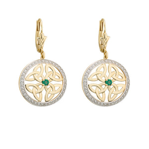 Solvar 14K Gold Emerald Trinity Drop Earrings