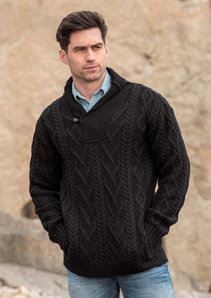 Dublin Shawl Collar Black Aran Sweater