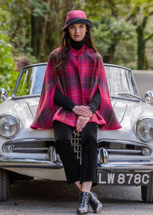 Mucros Dingle Pink Check Cape