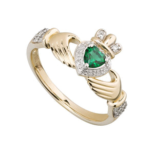 14K Gold Diamond & Emerald Claddagh Ring